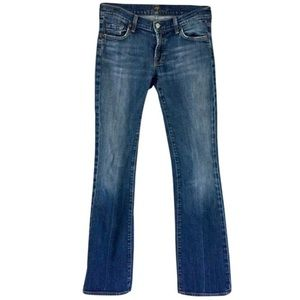 7FAM Classic Squiggle Pocket Boot Cut Blue Jeans